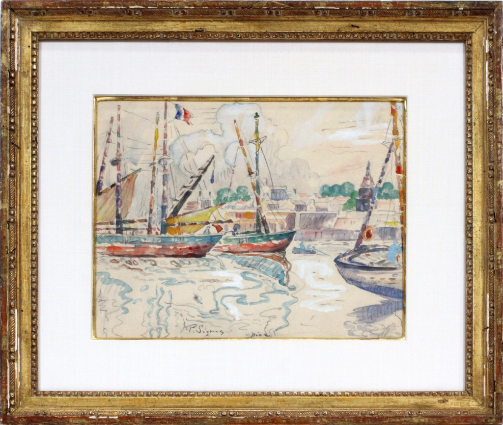 This was the one of two watercolor on paper landscapes by Paul Signac (French, 1863–1935) that made $18,600. It depicted the harbor at Nice and had been estimated at $15/20,000.