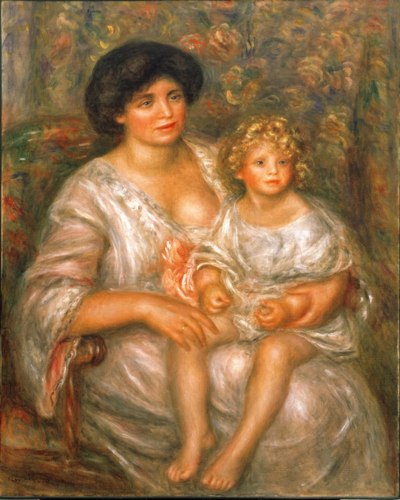 """""""Portrait of Mme. Thurneyssen and Her Daughter (Mère et enfant)"""" by Pierre-Auguste Renoir, 1910. Oil on canvas. 39-  by 31-  inches. Collection Albright-Knox Art Gallery, Buffalo, N.Y."""