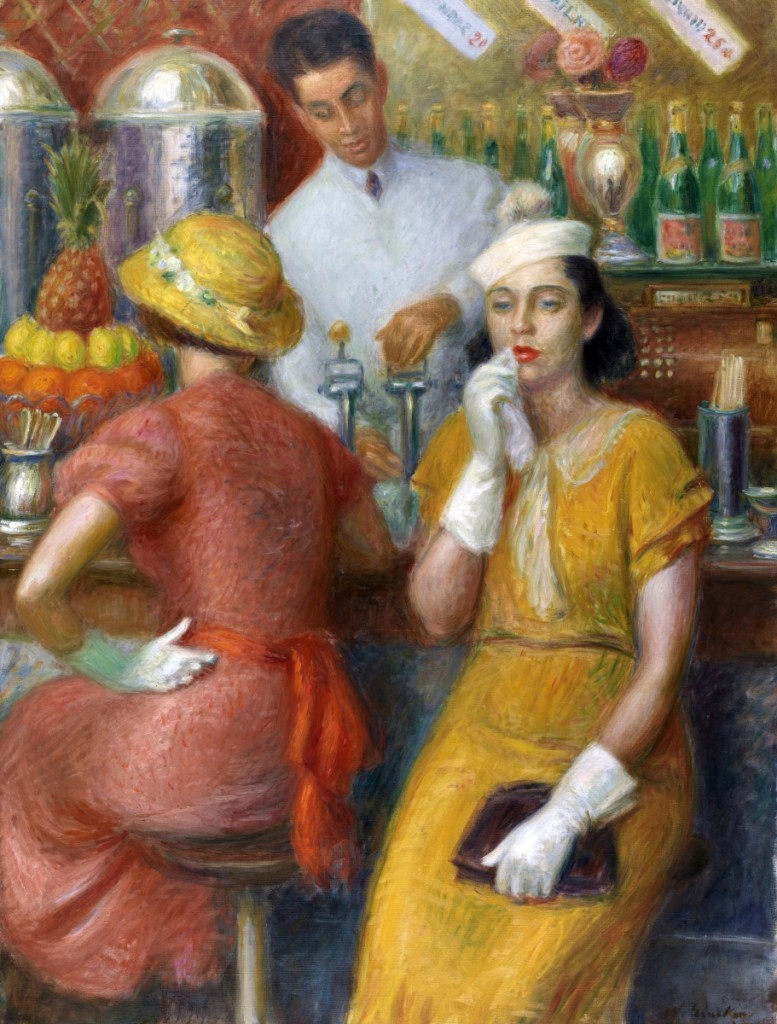 """""""The Soda Fountain"""" by William J. Glackens, 1935. Oil on canvas, 48 by 36 inches. Pennsylvania Academy of the Fine Arts."""