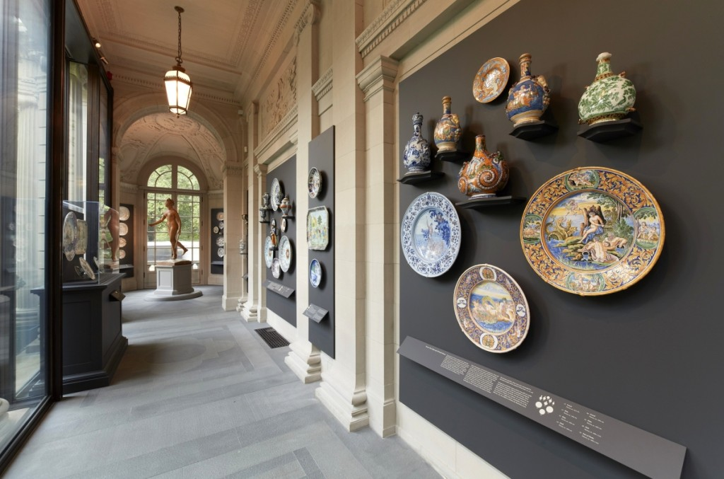 """Masterpieces of French Faience: Selections from the Sidney R. Knafel Collection"" is on view in the Portico Gallery through September 22, 2019. A selection of pieces from Nevers is at right. They date from around 1670 to 1700."
