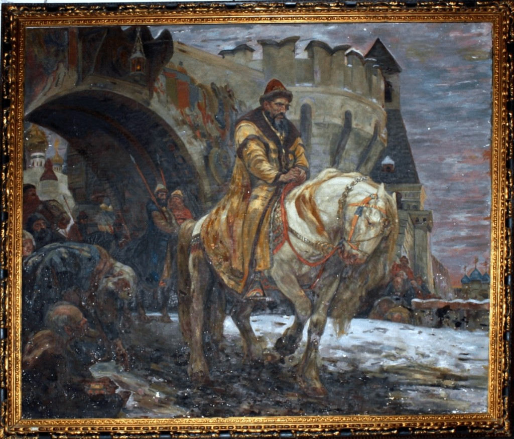 "Painted in 1911 by Mikhail Panin, this work is titled ""Secret Departure of Ivan the Terrible Before the Oprichina."" The US Attorney's Office included this photo in a forfeiture complaint filed on December 21, 2018."