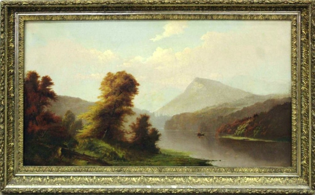 "An oil by Hudson River School artist Sanford Robinson Gifford ""Indian Summer — White Mountains"" was one the higher priced items in the sale, finishing at $14,950. Gifford's works hang in several museums."