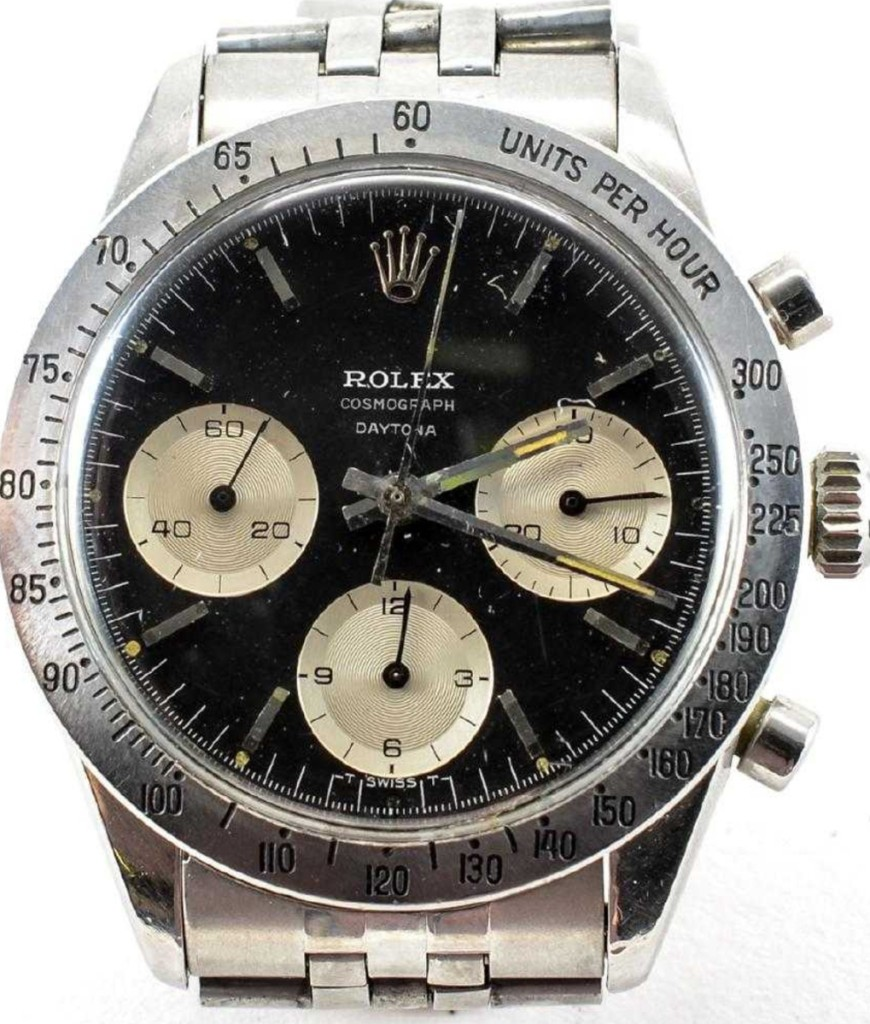 The top lot of the sale was a 1964 men's Paul Newman Rolex Cosmograph Daytona stainless steel wristwatch, which finished at $56,350. Brechlin believes the surge in pricing for vintage Rolex Daytonas is caused by the long waiting list for new models.