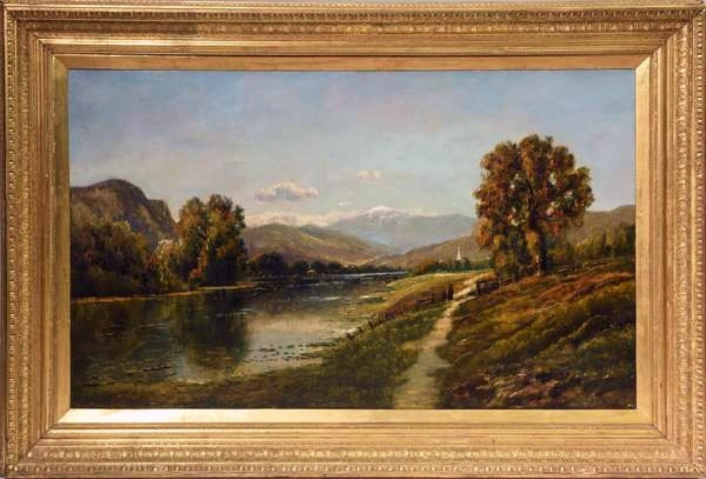 The highest priced item in the sale was a large, nicely framed, oil painting of Mount Washington from the Saco River Valley, 25 by 49 inches, by Edmund D. Lewis. It fetched $13,225.