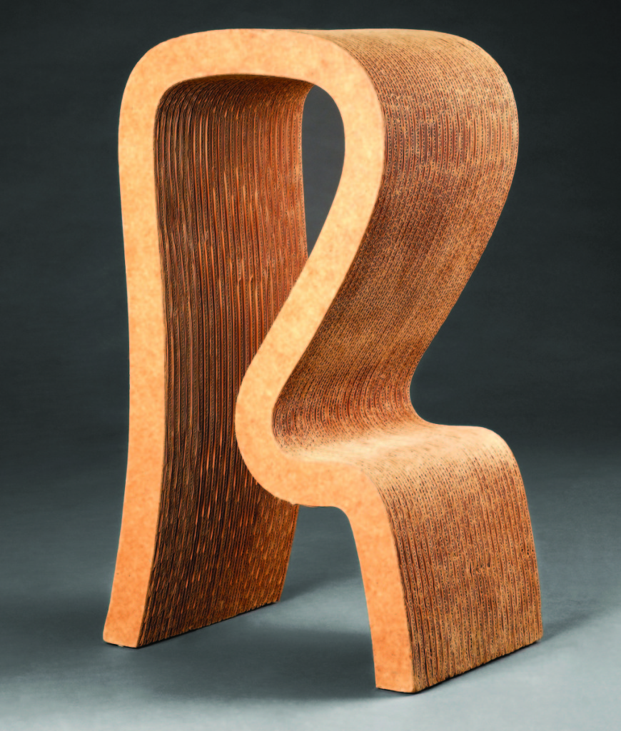Designed by Frank Gehry (b 1929), manufactured by Easy Edges, Inc. (active 1969–73), Los Angeles. High stool, 1971.