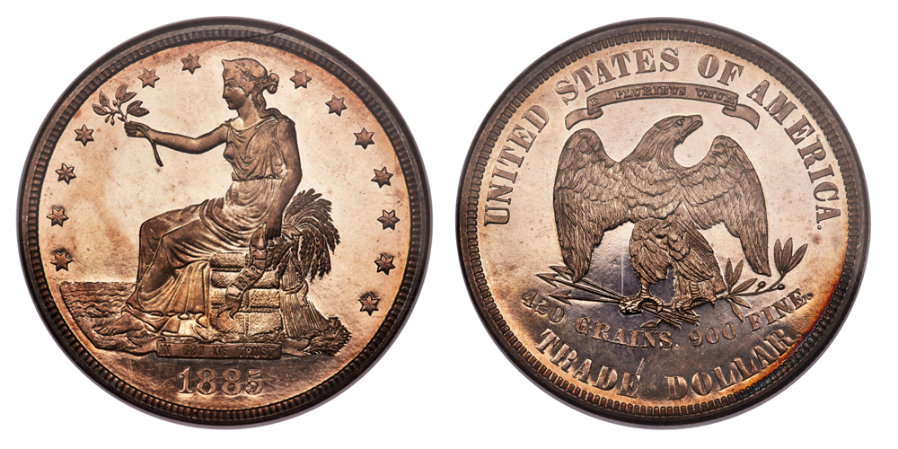 Collector Dell Loy Hansen won this 1885 trade dollar with a $3,960,000 million bid.