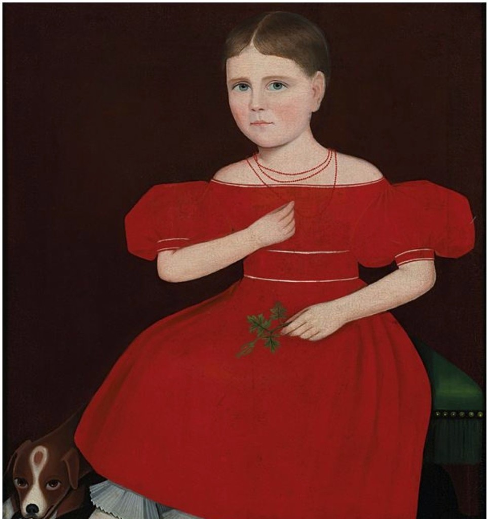 """The top lot of the sale was a shared honor, when """"Girl in a Red Dress with a Dog"""" by Ammi Phillips sold for $1,692,500 to Colchester, Conn., dealer Arthur Liverant, who was bidding in the room on behalf of a client."""