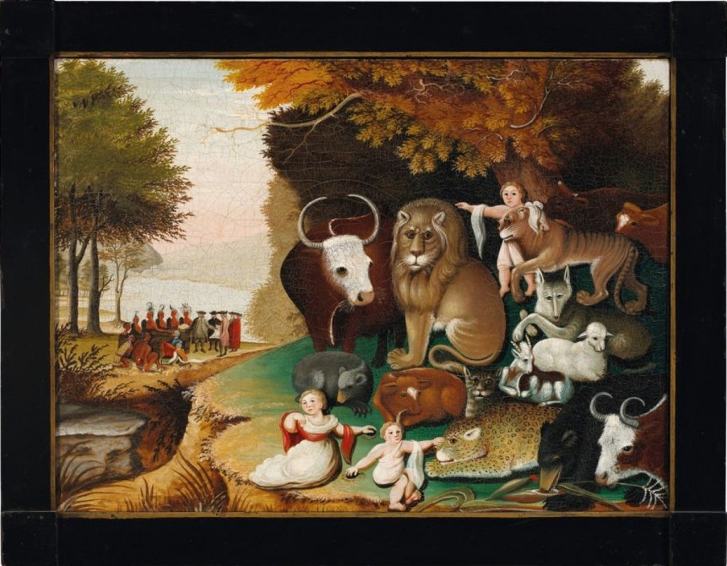"""Sharing top-lot honors, """"Peaceable Kingdom"""" by Edward Hicks sold for $1,692,500 to Woodbury, Conn., dealers David Schorsch and Eileen Michaelis Smiles, in partnership with Austin Miller. After the sale, Schorsch said they had acquired it for stock."""