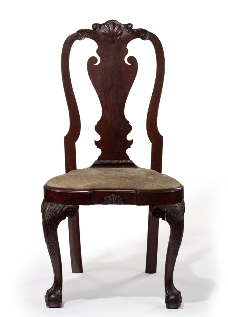 The top-selling lot of furniture at Christie's was the Powel-Griffitts family Queen Anne carved walnut compass-seat side chair, which retained its original leather upholstery and had descended in the Cooper family of Pennsylvania. Estimated at $200/300,000, the chair is part of a larger set that has since been dispersed into private and institutional collections. The chair was purchased for $348,500 by a private collector bidding on the telephone.