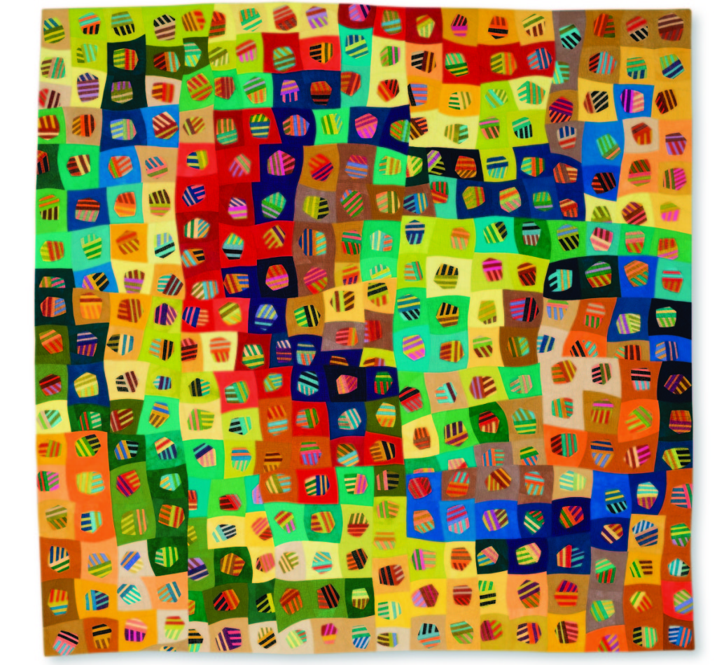 """Outrageous Cells"" by Nancy Cordry (Seattle, Wash.), 2015, 100 percent cottons, commercial and hand dyed by the artist, machine pieced and quilted by the artist, 78¼ by 79½ inches."
