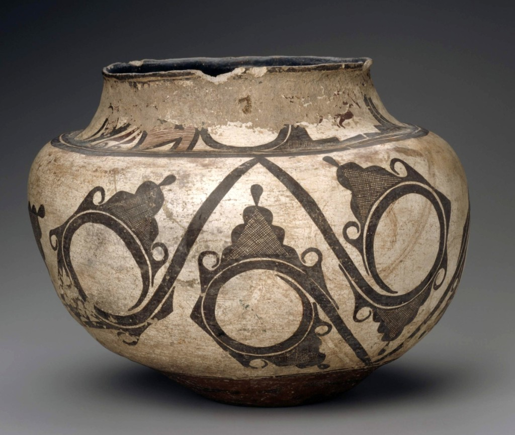 "Olla (water jar), Zuni Pueblo, 1820–40. Earthenware with white and black slip paint, height 11 by width 13-9/16 inches. Gift of Mrs George A. Goddard. ""Collecting Stories: Native American Art,"" Museum of Fine Arts, Boston."