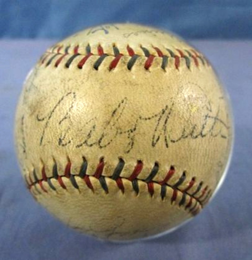 At the top of the sale was this 1934 Yankees team-signed baseball, featuring the signatures of Babe Ruth and Lou Gehrig. It went out at $5,060.