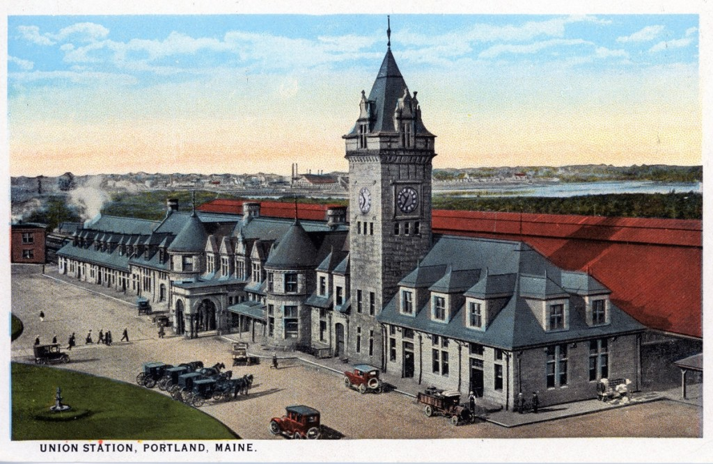 Circa 1910 postcard of Union Station, Portland, Maine, courtesy of the   Maine Historic Preservation Commission.
