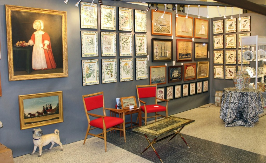 Earle D. Vandekar of Knightsbridge, Maryknoll, N.Y., was seemingly in two places at once over Americana Week. Here at the Wallace Hall show, his wife Deidre Healy represented the firm with a Fornasetti coffee table; a set of 12 Fornasetti plates, which sold; the usual woolies and botanical prints; and a charming Seventeenth Century portrait at left of a young English or possibly Dutch boy, dated 1651.