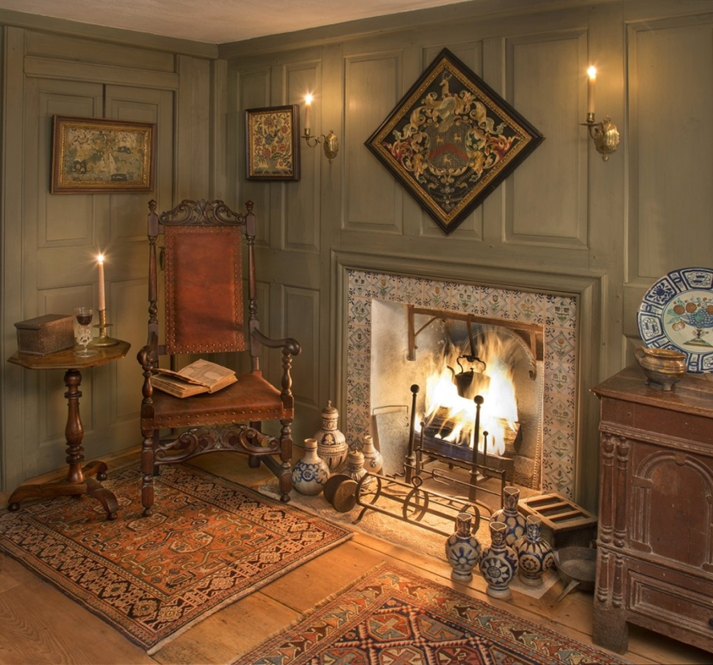 A private collector's interior featuring stoneware, Oriental rugs,   needlework and early furniture. Ashworth used the light from the fire   to give the room an authentic glowing effect.