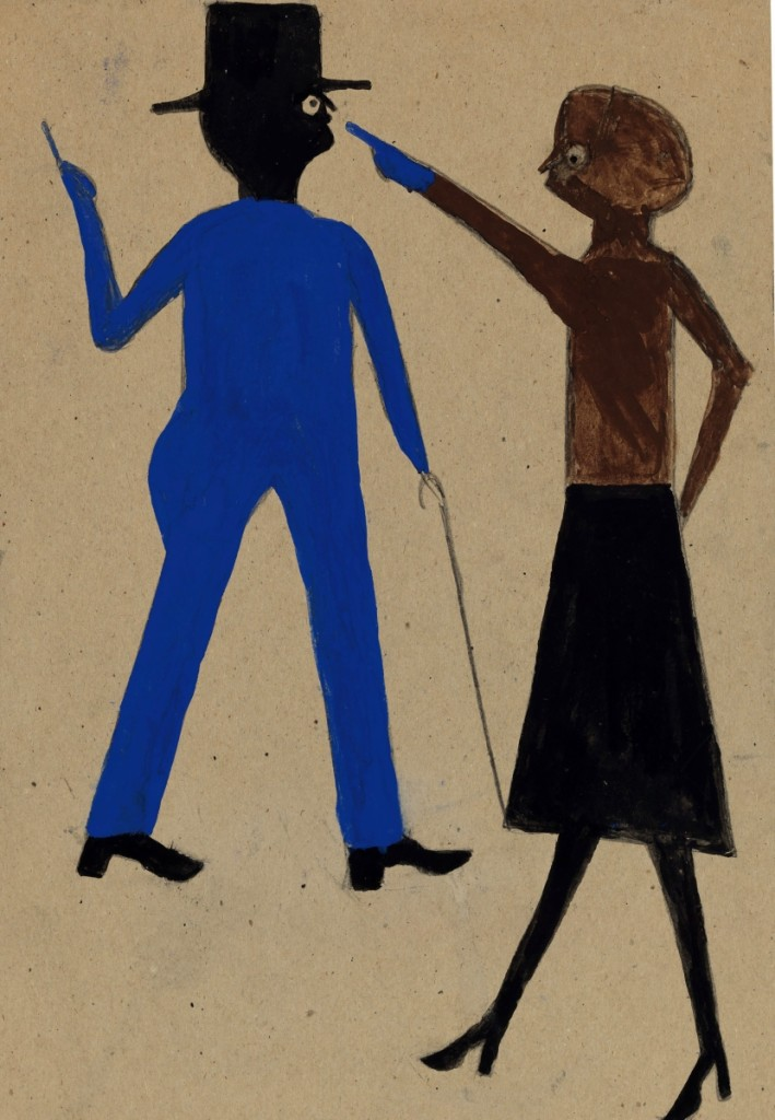 """The second highest price in the sale, the top price achieved for works from the William Louis-Dreyfus Foundation, and a new world record set for a work by Bill Traylor,  was Traylor's """"Woman Pointing at Man with Cane,"""" which sold for $396,500 to a phone bidder, underbid by a private collector in the room ($40/60,000)."""