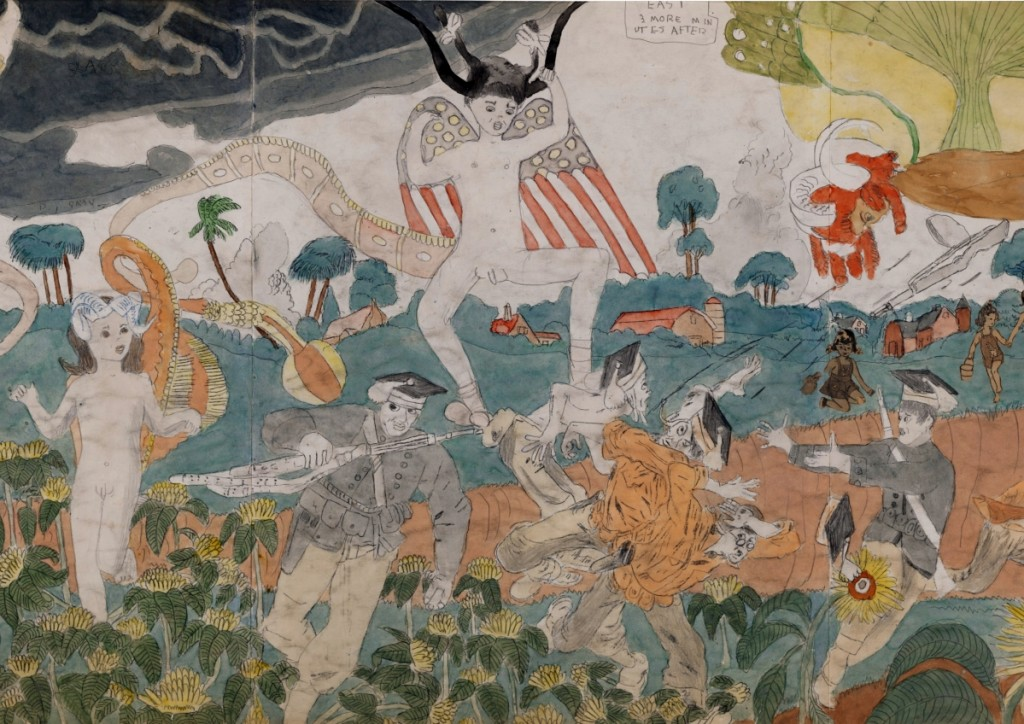 """The highest grossing lot in the Outsider sale was from the collection of Eugenie and Lael Johnson. Showing here is a detail from Henry Darger's """"148 AT Jennie Richee During fury of storm are unsuccessfully attached [sic] by Glandelinians / 149 At Jennie Richee narrowly escape capture but Blengins come to rescue"""" sold for $684,500 to a phone bidder who beat out several other phone bidders ($250/500,000)."""