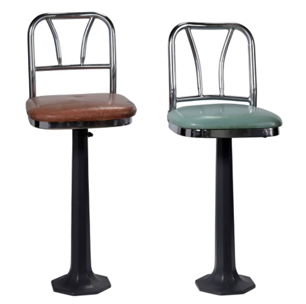Lunch counter stools from Greensboro, N.C., sit-ins. Manufactured by Chicago Hardware Foundry Co., American, founded 1900, used by F.W. Woolworth Company, American, 1879–1997. Collection of the Smithsonian National Museum of African American History and Culture, donated by the International Civil Rights Center & Museum, Greensboro, N.C.