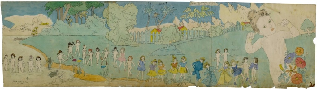 "The only Outsider work in the collection of David Teiger was Henry Darger's ""At Jennie Richee, Escape During Approach of New Storm,"" that Teiger had acquired from the Galerie St Etienne in New York City. Estimated at $150/300,000, it sold to a phone bidder for $325,000."