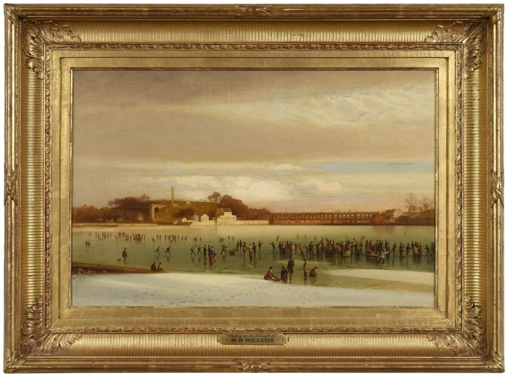 """William H. Willcox (1831–1929), """"Skating on the Schuylkill,"""" 1875, oil on canvas, 16¼ by 24½ inches, signed lower left """"WH Willcox 1875"""" ($25/35,000)."""