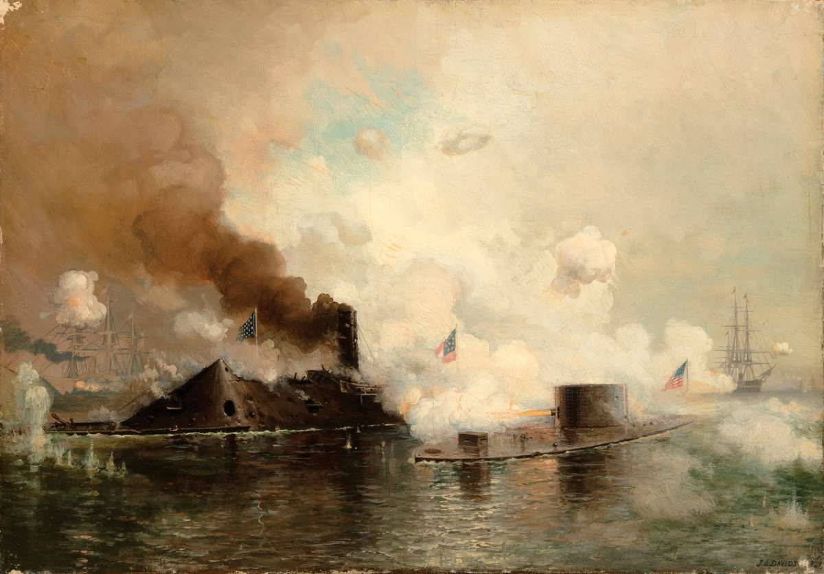 "Julian Oliver Davidson (1853–1894), ""Monitor and Merrimac: First Fight Between Ironclads,"" 1885, oil on canvas, 15 by 21½ inches, steamed past its $8/12,000 estimate to finish at $50,020."