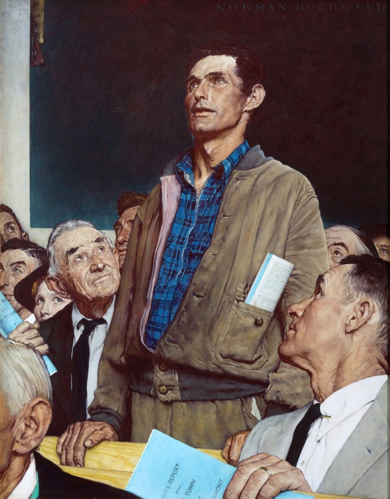 """Freedom of Speech"" by Norman Rockwell (1894–1978), 1943. Oil on canvas, 45¾ by 35½ inches. Story illustration for The Saturday Evening Post, February 20, 1943. Collection of Norman Rockwell Museum. ©SEPS: Curtis Licensing, Indianapolis, Ind. All rights reserved."