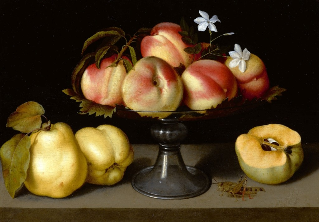 """A Glass Compote with Peaches, Jasmine Flowers, Quinces and a Grasshopper"" by Fede Galizia, oil on panel, 12 by 17 inches. The work established the top-selling price for a work by the artist at auction when it sold for $2,415,000 ($2/3  million)."