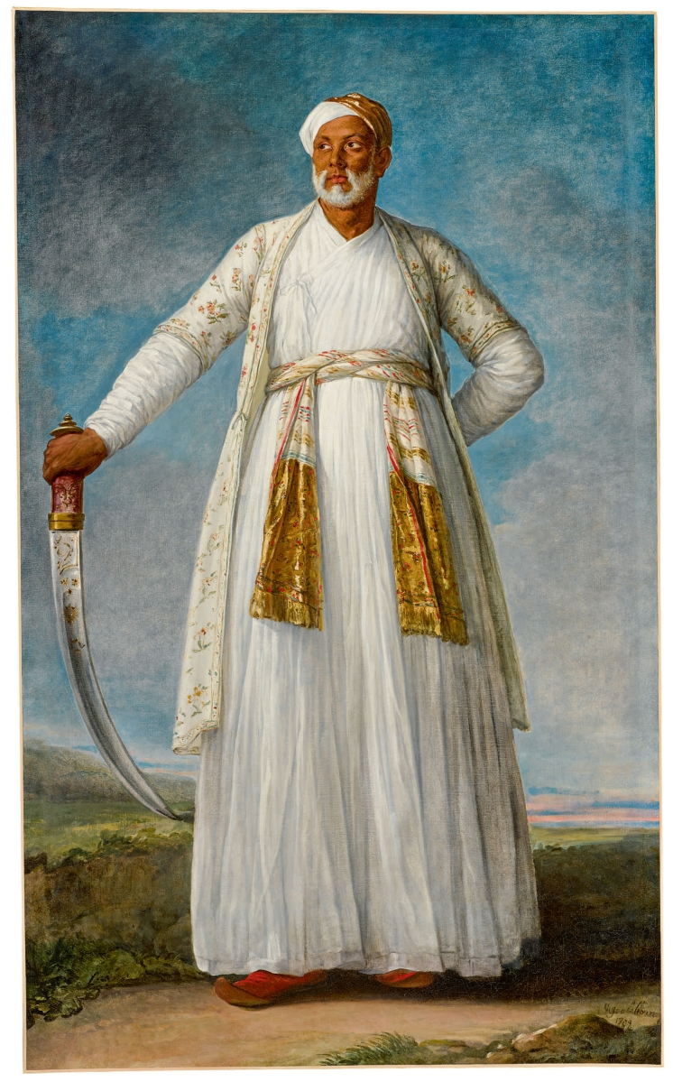 "The most expensive painting to sell during Masters Week was ""Portrait of Muhammad Dervish Khan, Full-Length, Holding His Sword in a Landscape"" by Elisabeth-Louise Vigée Le Brun, 1788, oil on canvas, 88¾ by 55½ inches. The painting set a record for the artist at auction and a record for the highest selling female artist of the pre-modern era when the work sold for $7,185,900 ($4/6 million)."