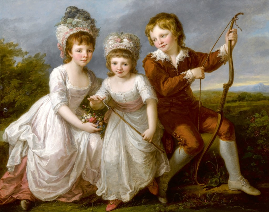 "Angelika Kauffmann's ""Portrait of Three Children, Almost Certainly Lady Georgiana Spencer, Later Duchess of Devonshire, Lady Henrietta Spencer and George Viscount Althorp,"" oil on canvas, 44¾ by 57 inches. The work set a record for the artist when it sold for $915,000 ($600/800,000)."