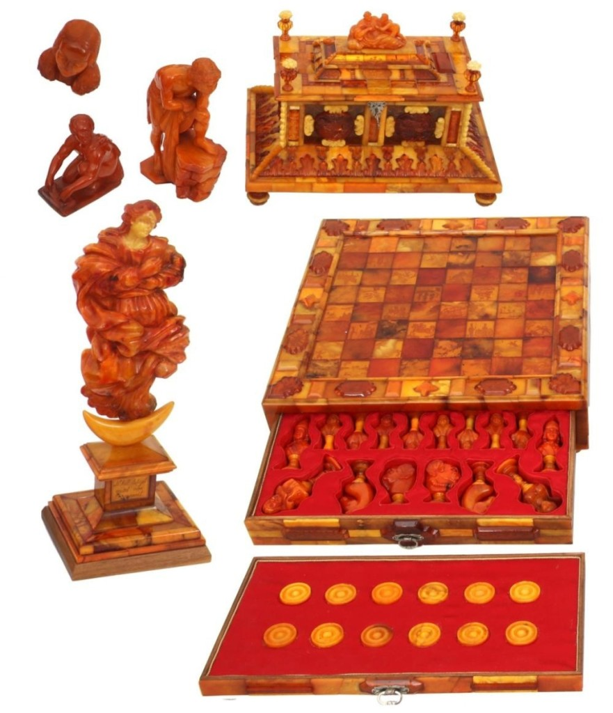 Before the sale, John Fontaine said that this Russian amber lot would probably be the highest priced item in the auction. He was right, as it sold for $54,450. The carved amber chess set, attributed to master carver Alexander Krilov, had chess pieces carved as imperial Russian figures, 32 of the playing squares were decorated with reverse-etched battle scenes, and the set was housed in a four-drawer case with carved finials.