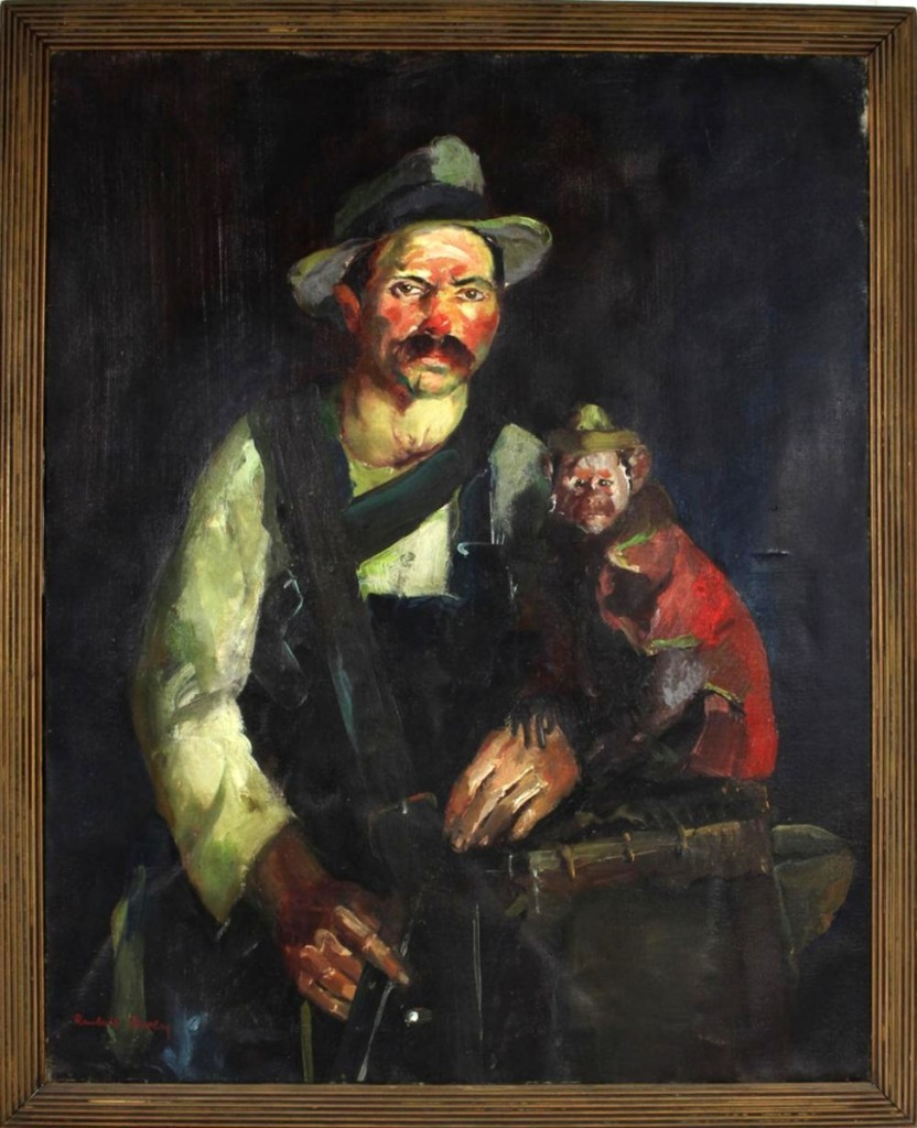 "The highest priced item in the 350-lot sale was a circa 1915 oil painting, ""Man and His Monkey,"" by Randall Davey. The painting, which had been on loan to Washington's Corcoran Gallery, sold for $24,000."