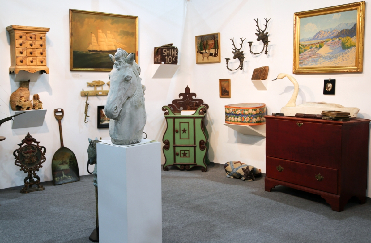 Frank Gaglio, Rhinebeck, N.Y., sold the one-drawer blanket chest, right, shortly after the opening.
