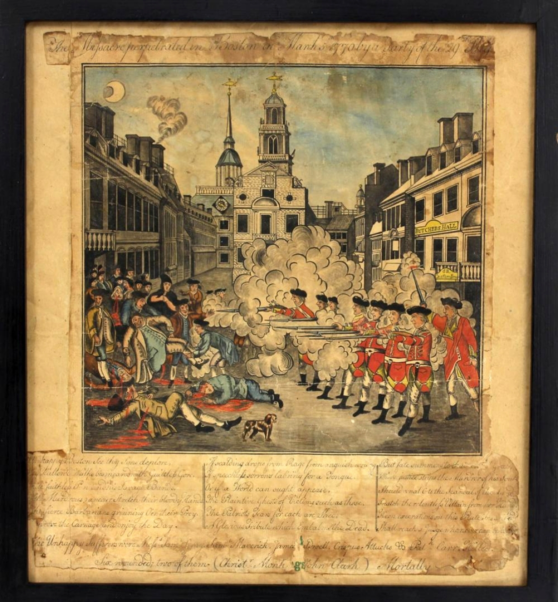 "When Chris Bryant, independent scholar and investor in the room, paid $21,600 for this watercolor rendering of Paul Revere's iconic ""The Bloody Massacre,"" he said, ""This may be the buy of a lifetime."" It has impeccable provenance and was cataloged as perhaps having been done by Christian Remick, known to have worked with Revere. The script below the image may be in Revere's hand and is presently being researched. Revere's engraving has been challenged as not being his, and this watercolor raises questions about its chronology that may soon be answered."