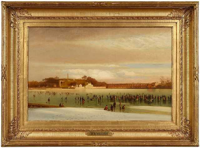 "At the top of the sale was an oil on canvas by American artist William H. Willcox (American, 1831-1929) that brought $66,000. The 16¼-by-24½-inch painting titled ""Skating on the Schuylkill"" was executed in 1875."