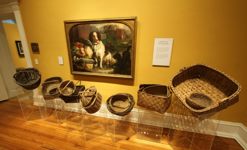 """Lilly's World"" installation of ""Dignity & Impudence,"" Lilly Martin Spencer, H 18981, with display of baskets."