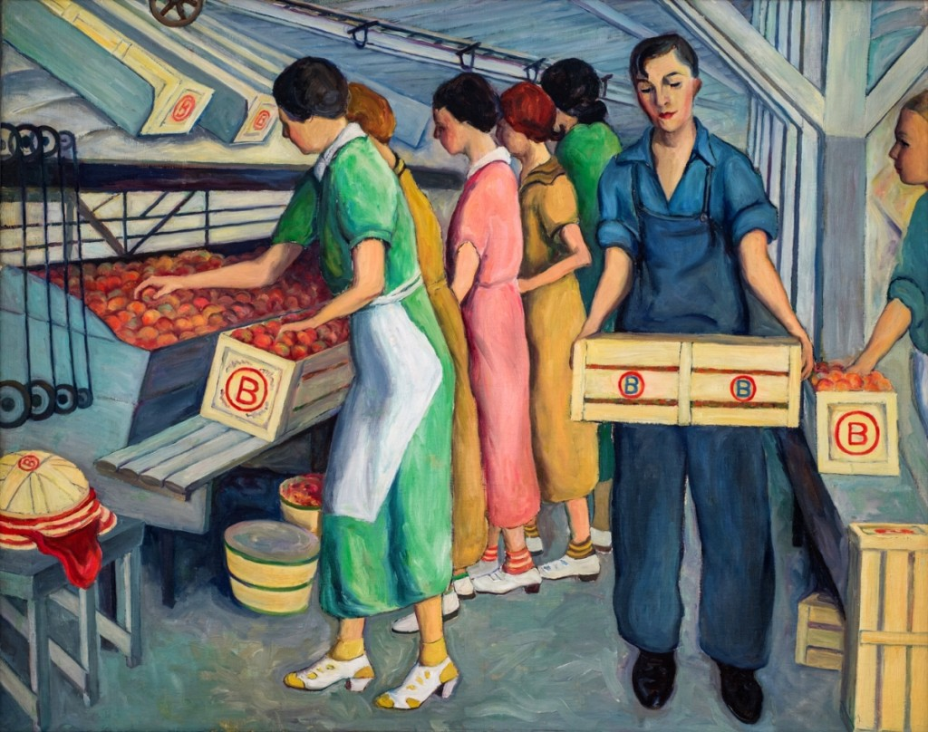 """Peach Packing, Spartanburg County"" by Wenonah Day Bell (1890–1981), 1938. Oil on canvas, 38-  by 48-  inches."