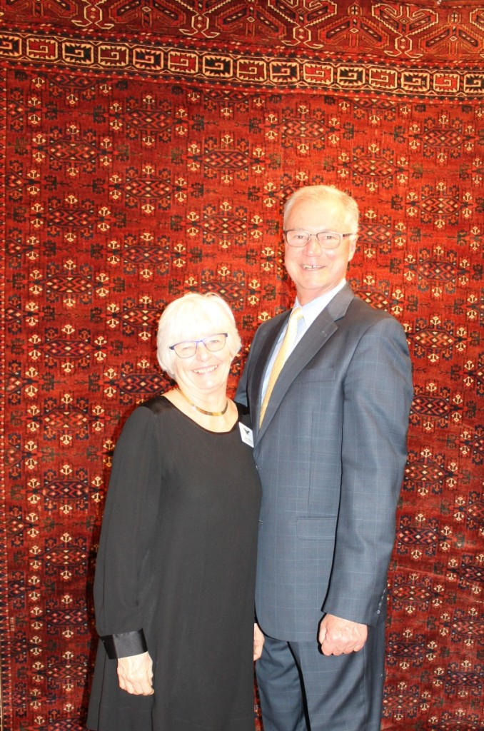 Show manager, Karen DiSaia, and her husband, Ralph, oversee the show masterfully, in addition to selling rugs from their inventory. Oriental Rugs, Ltd, Niantic, Conn.