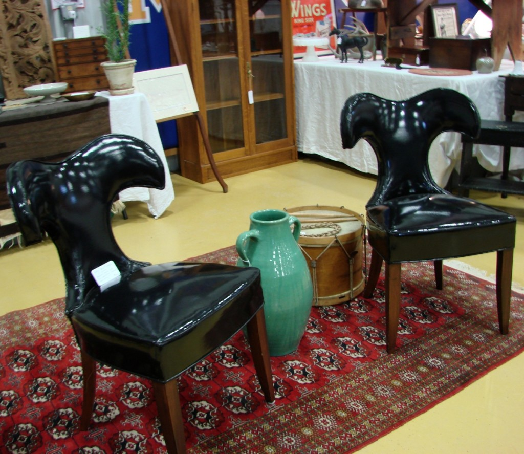 Osgood Hill Antiques, Essex, Vt., had what might have been the latest pieces of furniture in the show. The pair of 1960s vinyl chairs, with the interesting ram's head backs, were not identified as to maker.