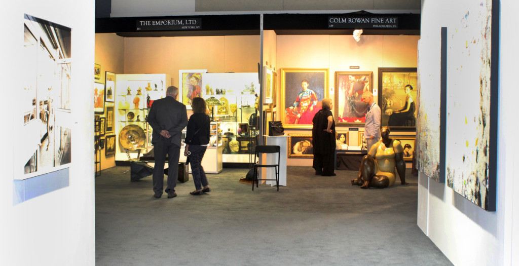 The Contemporary Focus section was surrounded by dealers of traditional or historic works. You can see the contract in the booth treatment, looking through the Contemporary Focus into the booths of the Emporium, New York City, and Colm Rowan Fine Art, Philadelphia.
