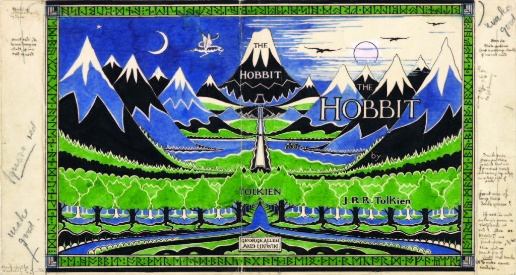 Dust jacket design for The Hobbit by J.R.R. Tolkien, April 1937. Pencil, black ink, watercolor, gouache.   Bodleian Libraries, MS. Tolkien Drawings 32. ©The Tolkien Estate Limited 1937.