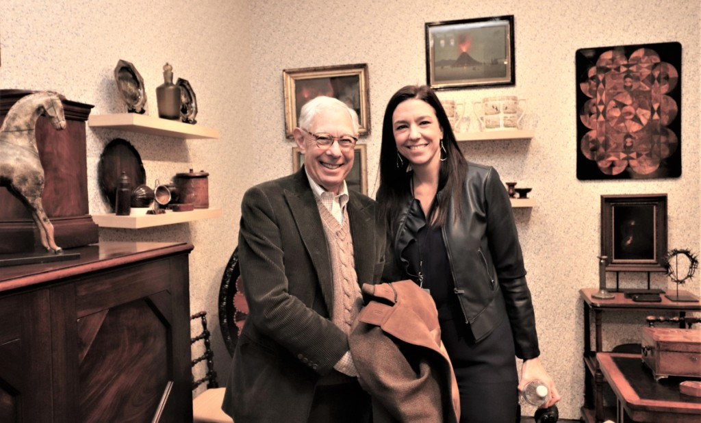 Winter Show chairman emeritus Arie Kopelman and executive director Helen Allen in the booth of Cove Landing, New York City.
