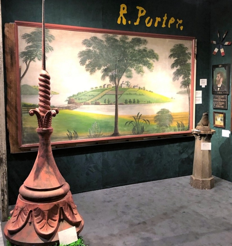 Stephen Score sold his Rufus Porter mural, a recent reacquisition. The Boston dealer removed it from the Boyden House in Westwood Mass., in 1982. Score said Porter authorities had known of its existence but not its whereabouts. Left is a circa 1880 tole and zinc finial. Right, a portrait of the Parks children by Samuel Miller.
