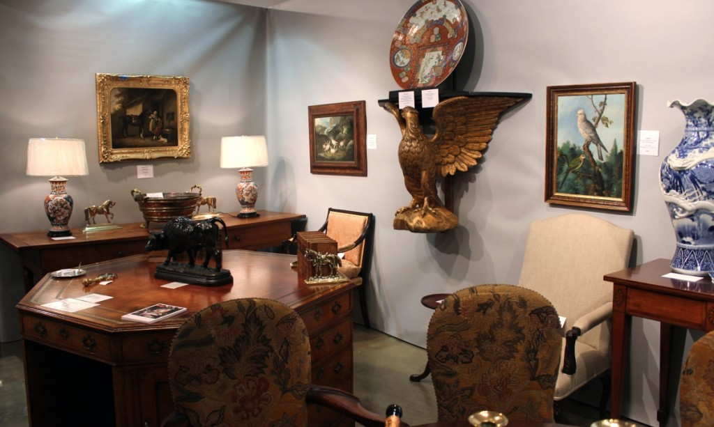 One of the pieces of furniture sold at the show was the octagonal partners' desk shown in the lower left corner here. Roger D. Winter, Ltd, Bucks County, Penn.