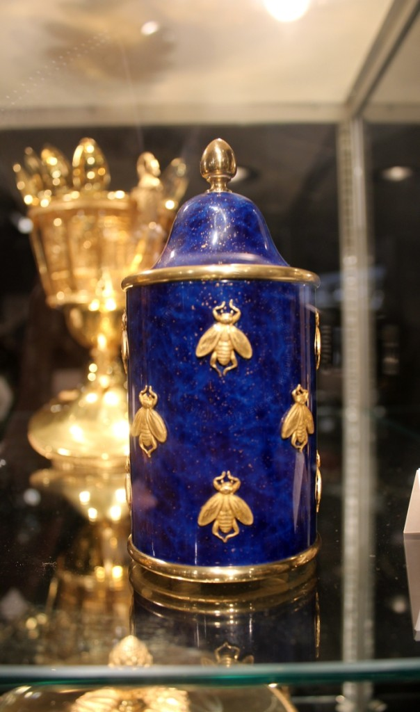 A gilt-bronze, lapis lazuli enameled and crystal French honey pot with bee decoration, by Odiot, a replica of one from a service made for Napoleon. Silver Art by D&R, Baltimore, Md., and Marseille, France.