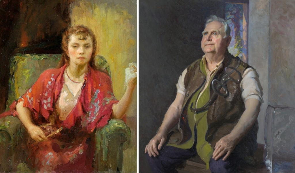 """Every woman in the exhibition is represented by a photograph or self-portrait in the catalog. Thus """"Time Out,"""" right, a 1938–39 portrait of an iceman with his tongs by Gladys Nelson Smith (1890–1939), can be compared to her personal vision of herself."""