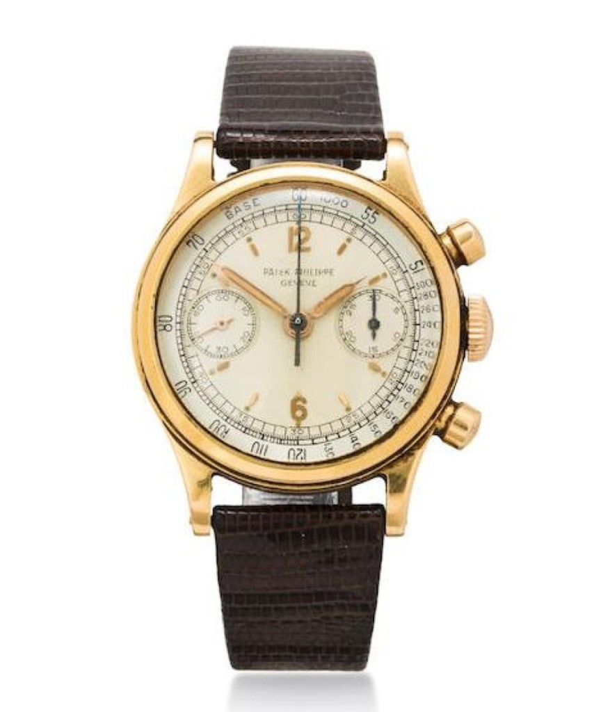 A Patek Philippe rare and very fine 18K rose gold water resistant chronograph wristwatch with   original guarantee certificate and box, Ref: 1463, Case no. 664960, Movement no. 868180,   sold Bonhams New York June 9, 2015,   for $353,000, including premium.