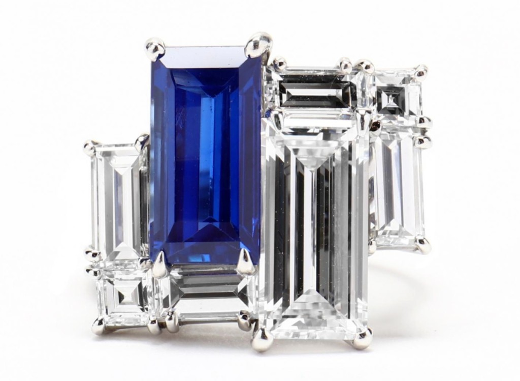 A high-quality Kashmir sapphire and diamond had ten people bidding through the high five figures, and then two continued bidding until the ring, estimated at $40/60,000, sold at $153,400.