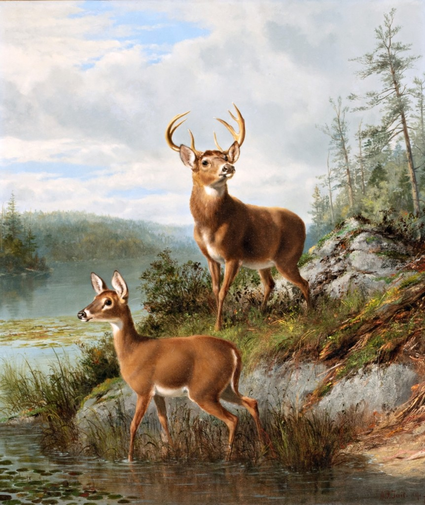 "Arthur Fitzwilliam Tait's (1819–1905) ""Wide Awake, Raquette Lake,"" oil on canvas, 26¼ by 22½ inches, commanded $54,000."