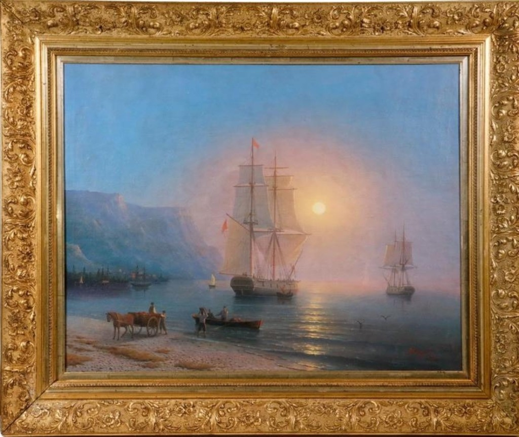 "The top selling lot of the three-day sale was a marine scene by Russian artist Ivan Konstantinova Aivazovsky. Signed in Cyrillic, dated 1853 and titled ""Sunset in Crimea,"" it depicted two fully rigged sailing ships becalmed in a harbor. It sold for $128,700 and is on its way back to Russia."