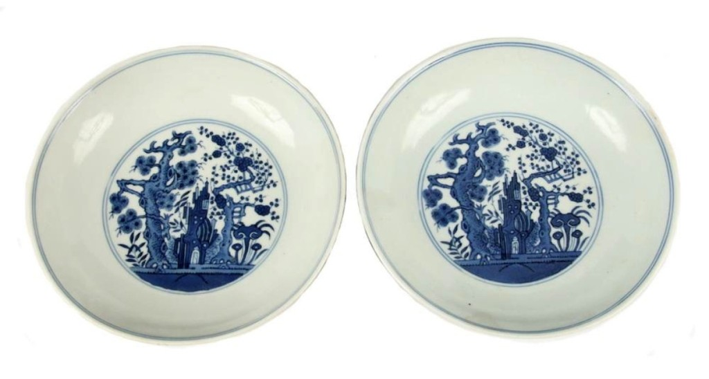 Most auctioneers will agree that estimating the value of Asian ceramics and art is a difficult job. It was demonstrated once again as a pair of Nineteenth Century Chinese Qing dynasty blue and white porcelain low bowls, with a Daoguang (1821–50) seal mark, sold for $23,400, many times the estimate. Each had figural and landscape decoration inside and out.